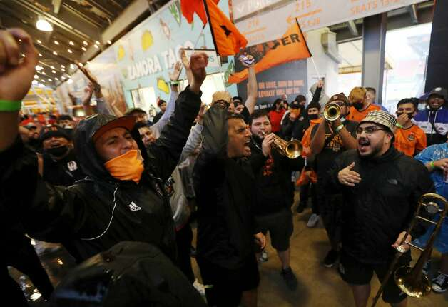 Fans cheer before an MLS match between the Houston Dynamo FC and the Vancouver Whitecaps FC on Saturday, May 22, 2021, at BBVA Stadium in Houston. Photo: Jon Shapley/Staff Photographer / © 2021 Houston Chronicle