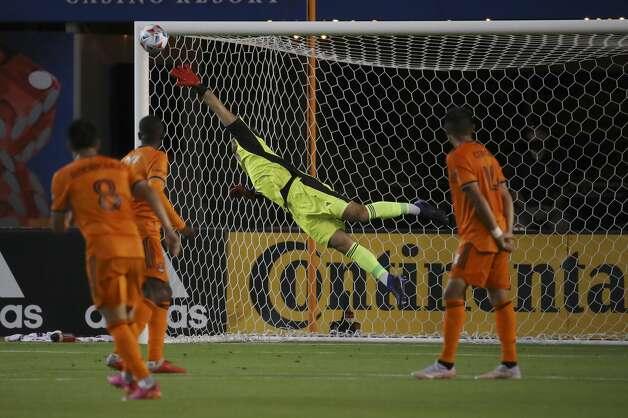 Houston Dynamo FC goalkeeper Marko Maric (1) blocks a shot on the goal during the first half of an MLS match Saturday, May 22, 2021, at BBVA Stadium in Houston. Photo: Jon Shapley/Staff Photographer / © 2021 Houston Chronicle