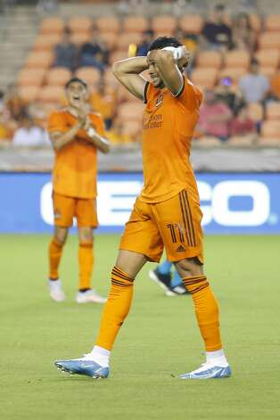 Houston Dynamo FC forward Ariel Lassiter (11) reacts after a near-miss on the goal during the second half of an MLS match Saturday, May 22, 2021, at BBVA Stadium in Houston. Photo: Jon Shapley/Staff Photographer / © 2021 Houston Chronicle