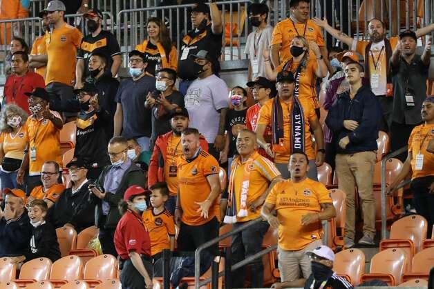 Houston Dynamo FC fans react during the second half of an MLS match Saturday, May 22, 2021, at BBVA Stadium in Houston. Photo: Jon Shapley/Staff Photographer / © 2021 Houston Chronicle