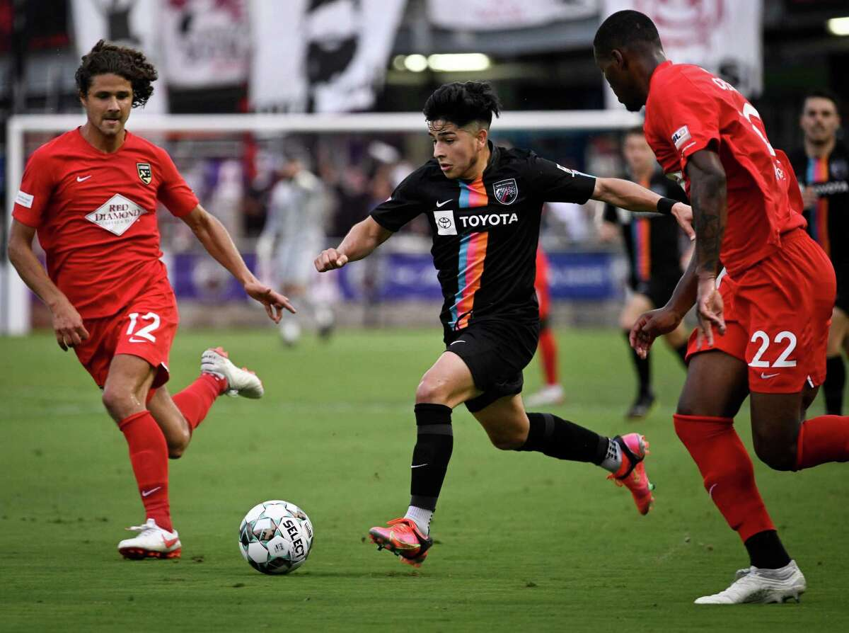 San Antonio FC's Jose Gallegos takes off on an attack against Birmingham Legion FC on Saturday, May 22, 2021, at Toyota Field in San Antonio. Gallegos helped set up the club's first goal just 43 seconds into the match.