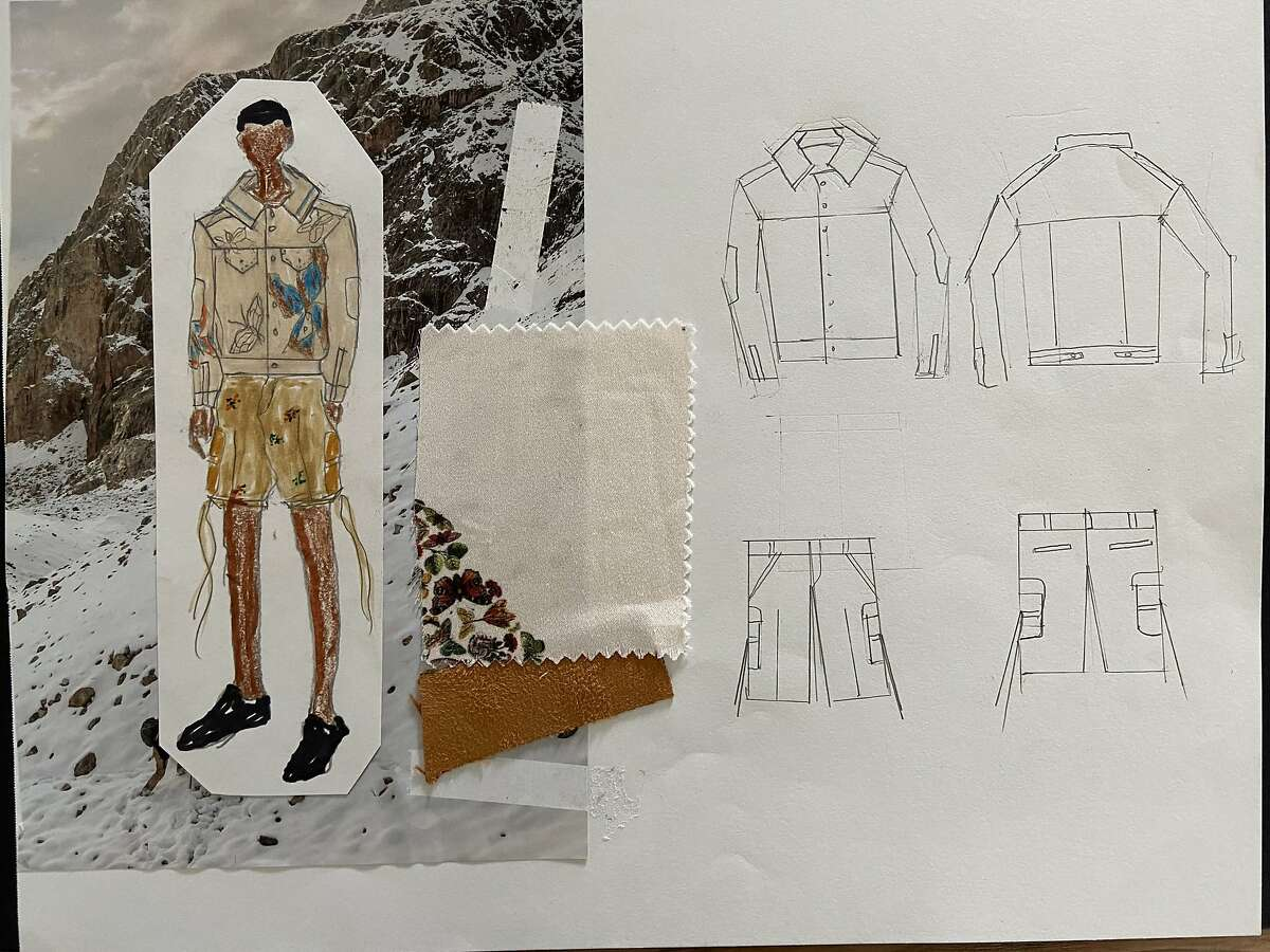 Designs / sketches from Fashion Designer Aldo De La Cruz Falcon who is participating in CCSFs annual fashion showcase and competition, FashionSphere, which is celebrating its 20th anniversary via livestream on Sunday, May 23, 2021. The student-produced, interdisciplinary livestream includes behind-the-scenes look at seven senior designers creating their collections, and vying for three coveted two-year scholarships to the Academy of Art University.