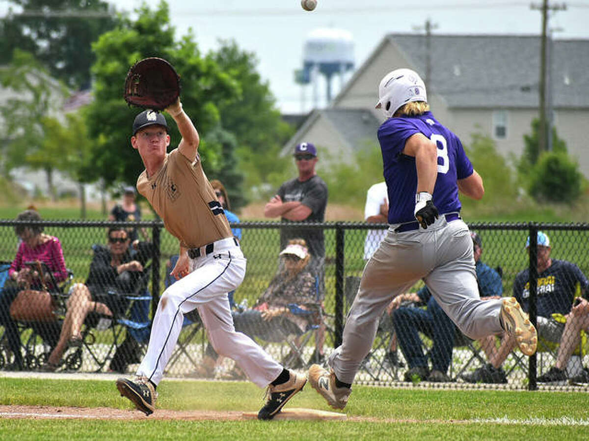 Father McGivney first baseman Drew Sowerwine reaches for a throw from catcher Luke Deakos after a dropped third strike. The runner was safe on the play.