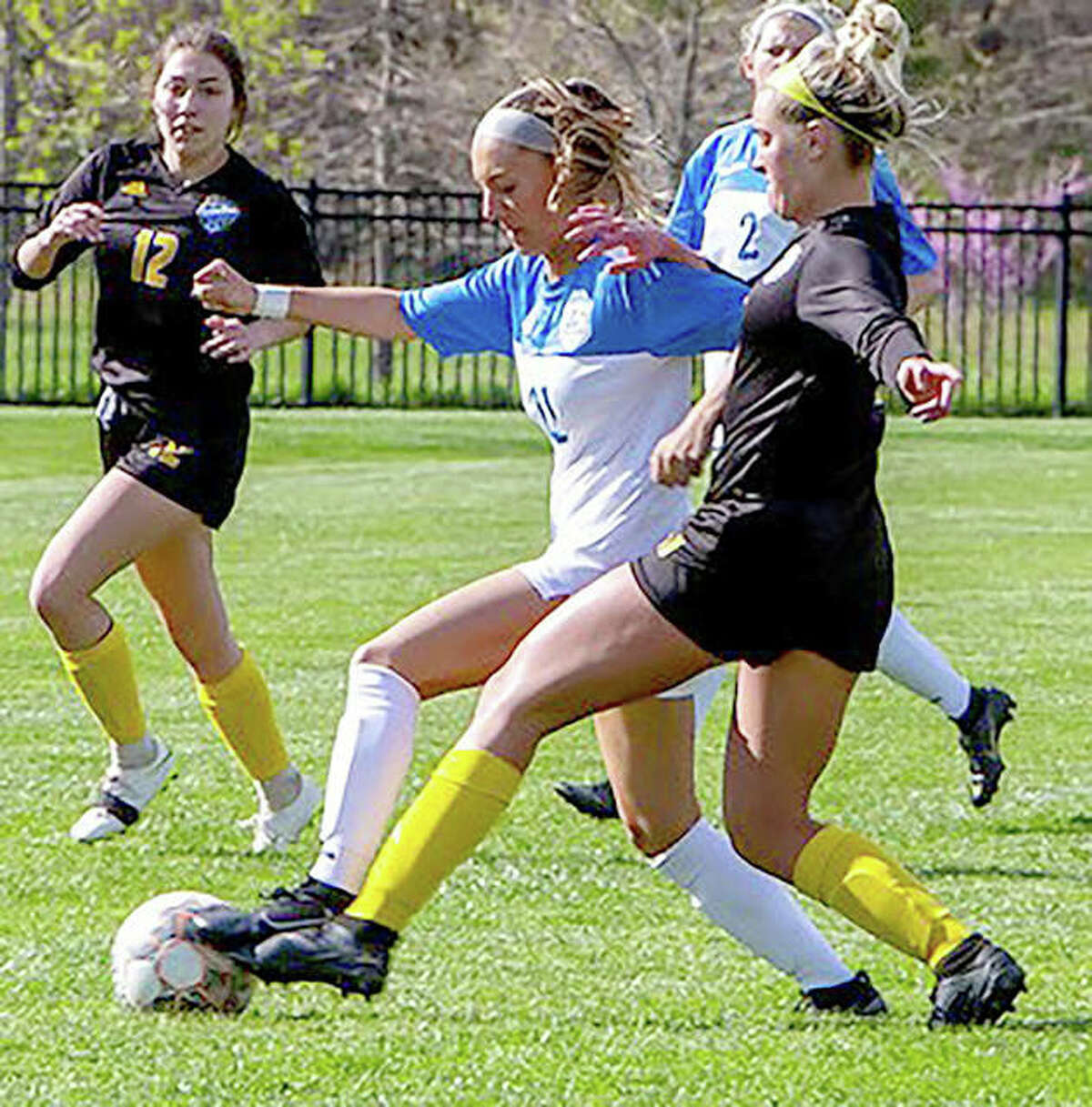 Lewis and Clark's Skylar Nickel, a freshman from Carlinville, controls the ball earlier this season against Illinois Central College.