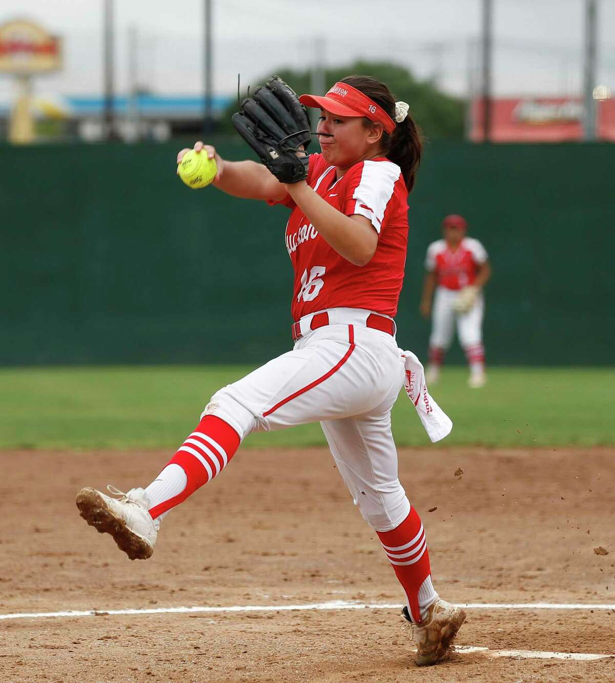 Judson pitcher Emily Ayala delivers a pitch against O'Connor. Game 2 softball regional semifinal Judson vs. O'Connor on 5.22,.2021 at Judson HS