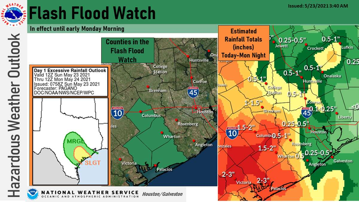 A flash flood watch is underway Sunday for parts of the Gulf Coast.