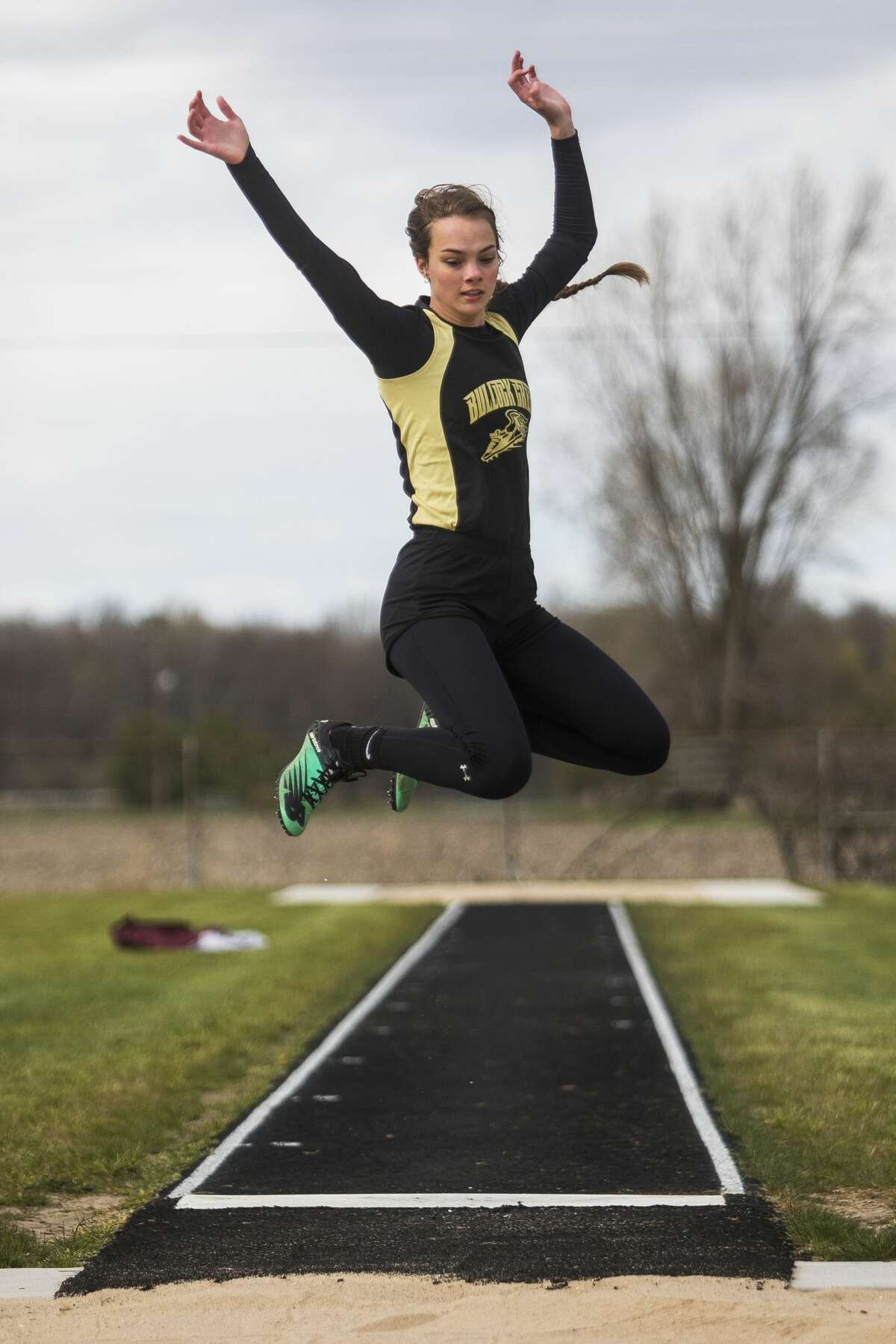 Bullock Creek's Lauren Bradford competes in the long jump on May 21, 2021.