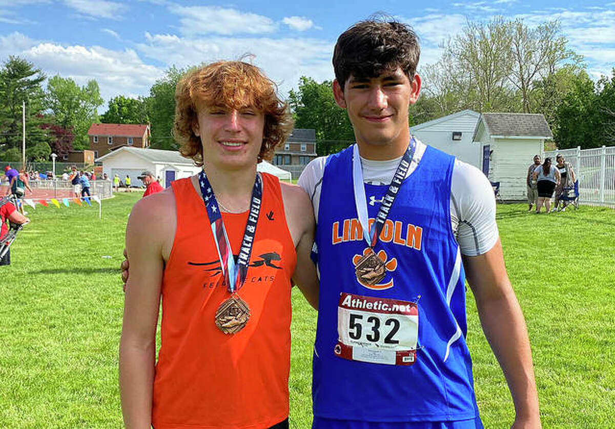 Liberty's Clayton Lakatos, left, and Lincoln's Iose Epenesa are each pictured one of their two first-place medals from the Illinois Junior High Elite Invitational on Saturday in Bloomington.