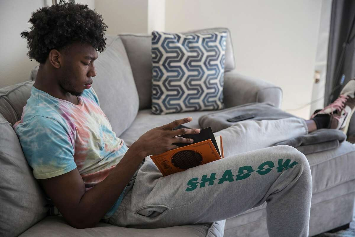 Golden State Warriors rookie, James Wiseman reads from the,