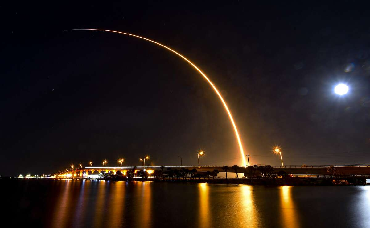 The SpaceX Falcon 9 rocket takes off on a mission carrying Starlink satellites at Cape Canaveral last month.