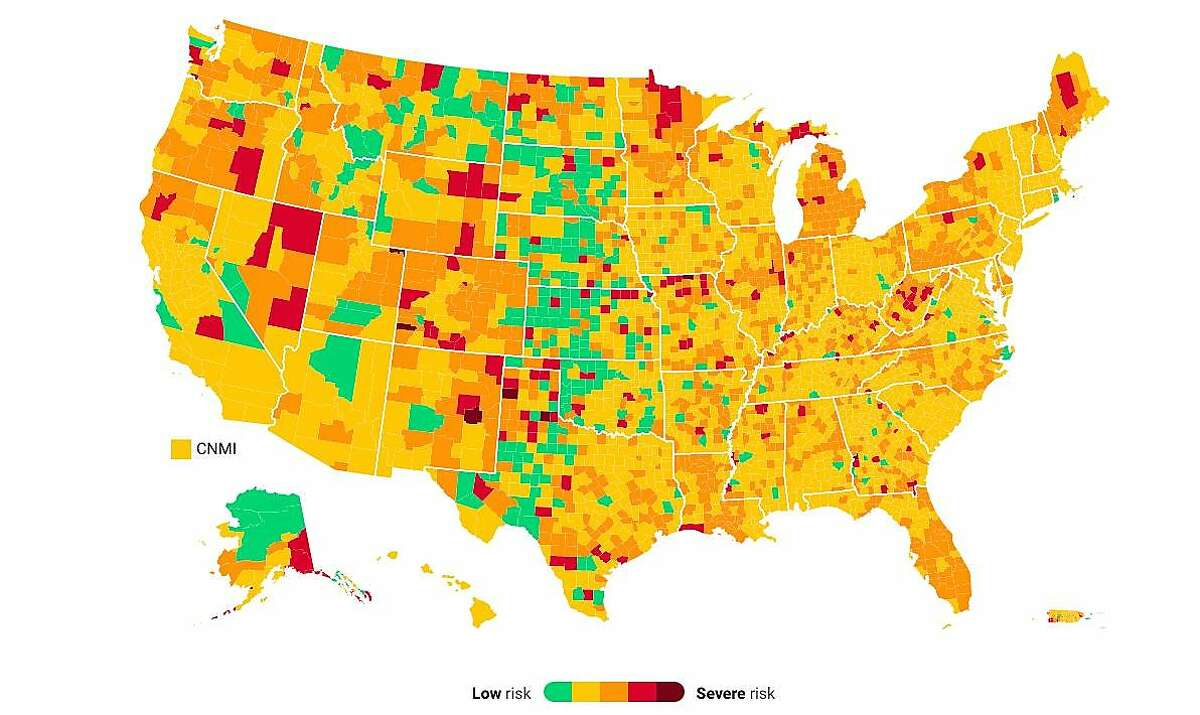 The U.S. county-level coronavirus risk level map from COVID Act Now, Sunday, May 23, 2021.