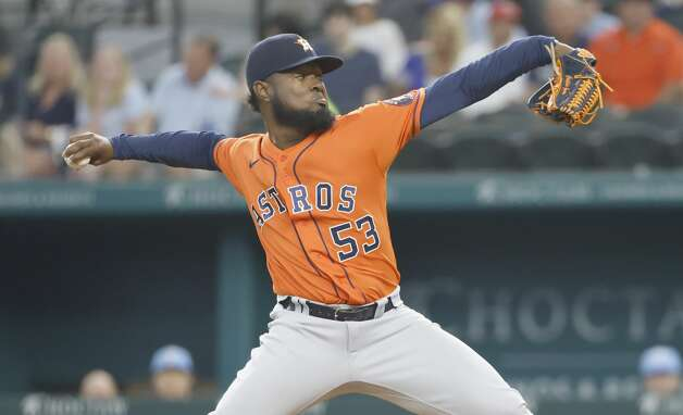ARLINGTON, TX - MAY 23: Cristian Javier #53 of the Houston Astros pitches against the Texas Rangers during the first inning at Globe Life Field on May 23, 2021 in Arlington, Texas. (Photo by Ron Jenkins/Getty Images) Photo: Ron Jenkins/Getty Images / 2021 Getty Images