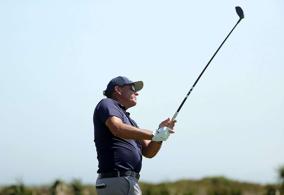 KIAWAH ISLAND, SOUTH CAROLINA - MAY 23: Phil Mickelson of the United States plays his shot from the sixth tee during the final round of the 2021 PGA Championship held at the Ocean Course of Kiawah Island Golf Resort on May 23, 2021 in Kiawah Island, South Carolina. (Photo by Stacy Revere/Getty Images)