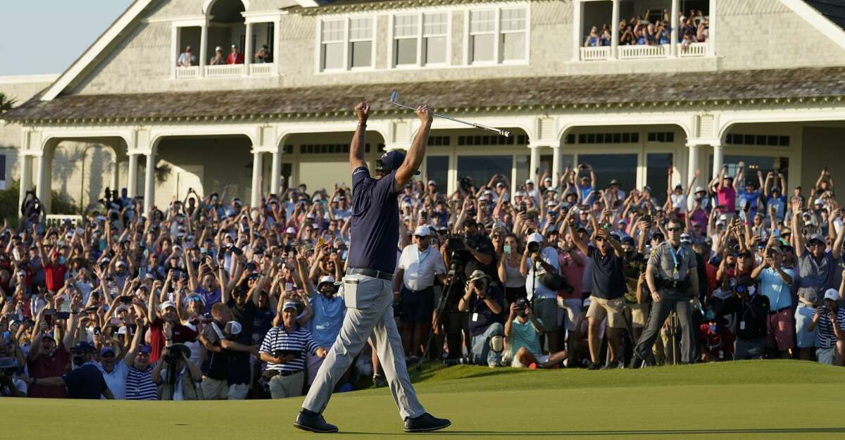 Phil Mickelson celebrates after winning the final round at the PGA Championship golf tournament on the Ocean Course, Sunday, May 23, 2021, in Kiawah Island, S.C. (AP Photo/Matt York)
