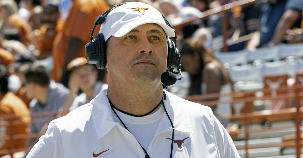 Texas head coach Steve Sarkisian looks on during the second half of the Texas Orange and White Spring Scrimmage in Austin, Texas, Saturday, April 24, 2021. (AP Photo/Michael Thomas)