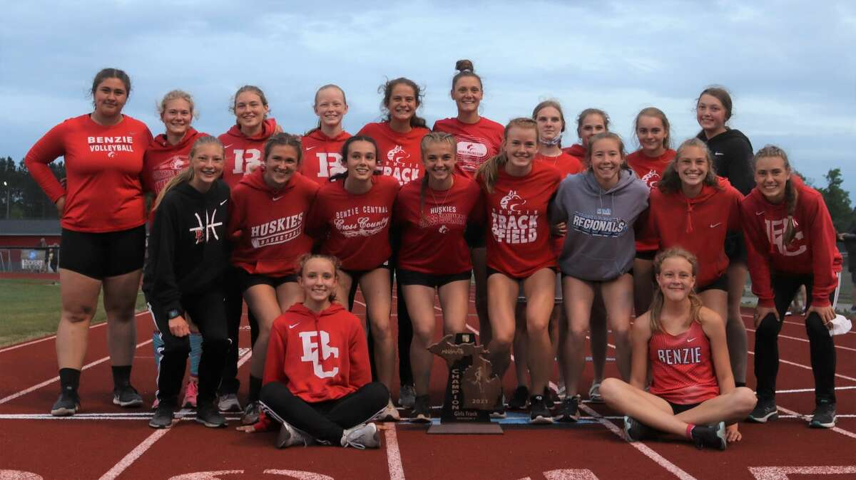 Benzie Central celebrates a regional championship in girls track and field on May 21.