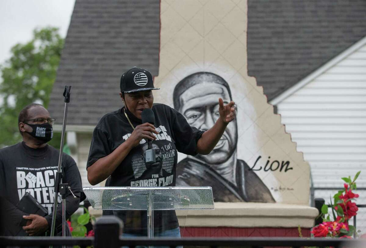 LaTonya Floyd - sister of George Floyd - talks to a crowd of people attending the dedication George Floyd Park at Alabama and Napoleon streets on Sunday, May 23, 2021, in Houston. George Floyd was killed by Minneapolis Police officer Derek Chauvin on May 25, 2020.