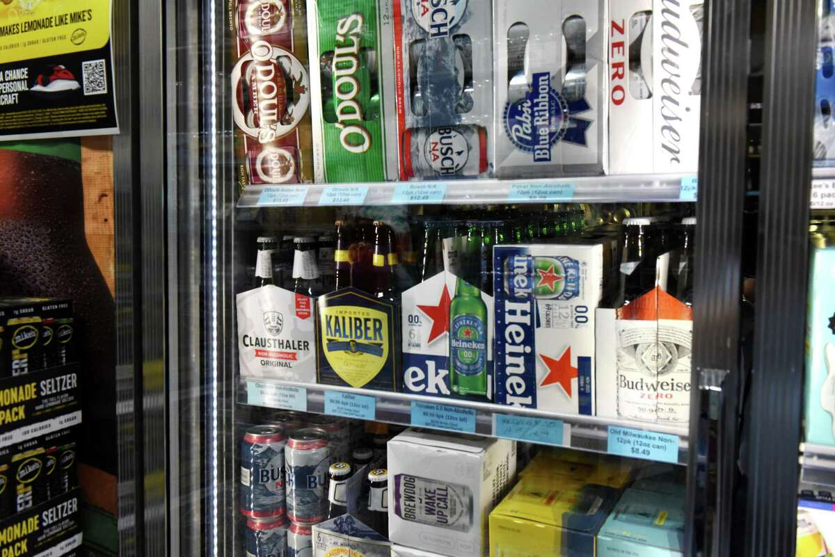 Non-alcoholic beer offerings are displayed at Brew Crew/Oliver's Beverages in Albany. The choices of NA beer have increased as the product has become more popular. (Will Waldron/Times Union)