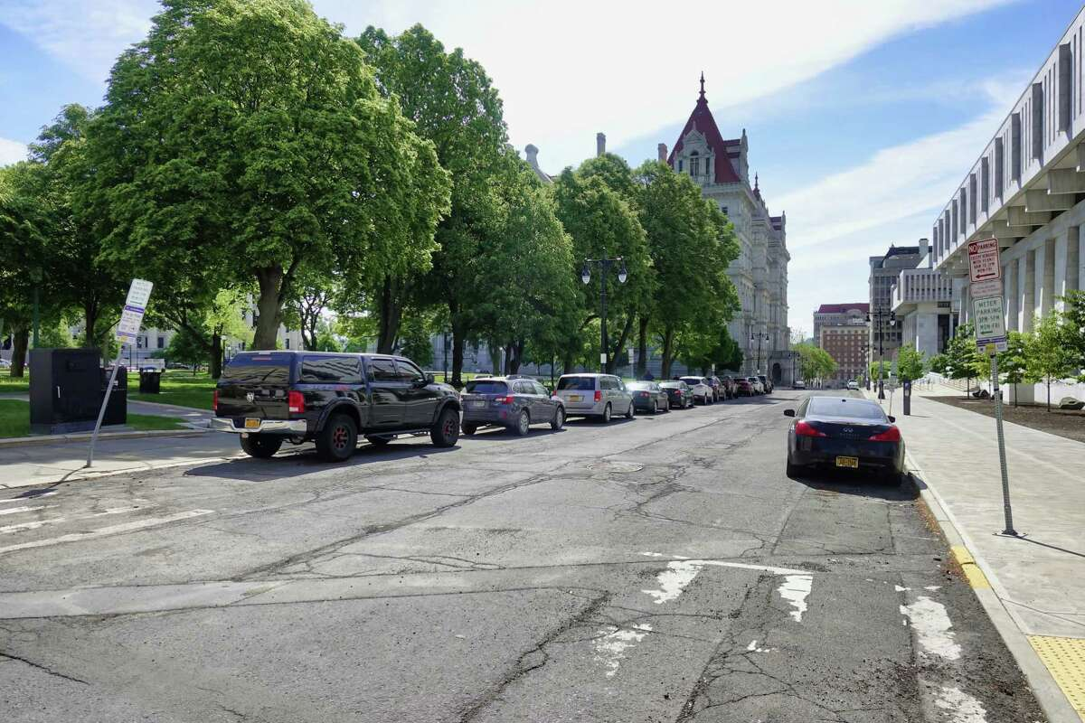 The barricades that were blocking State St. near the Capitol have been removed and now vehicle traffic is allowed along this section of State St., seen here on Monday, May 24, 2021, in Albany, N.Y. (Paul Buckowski/Times Union)
