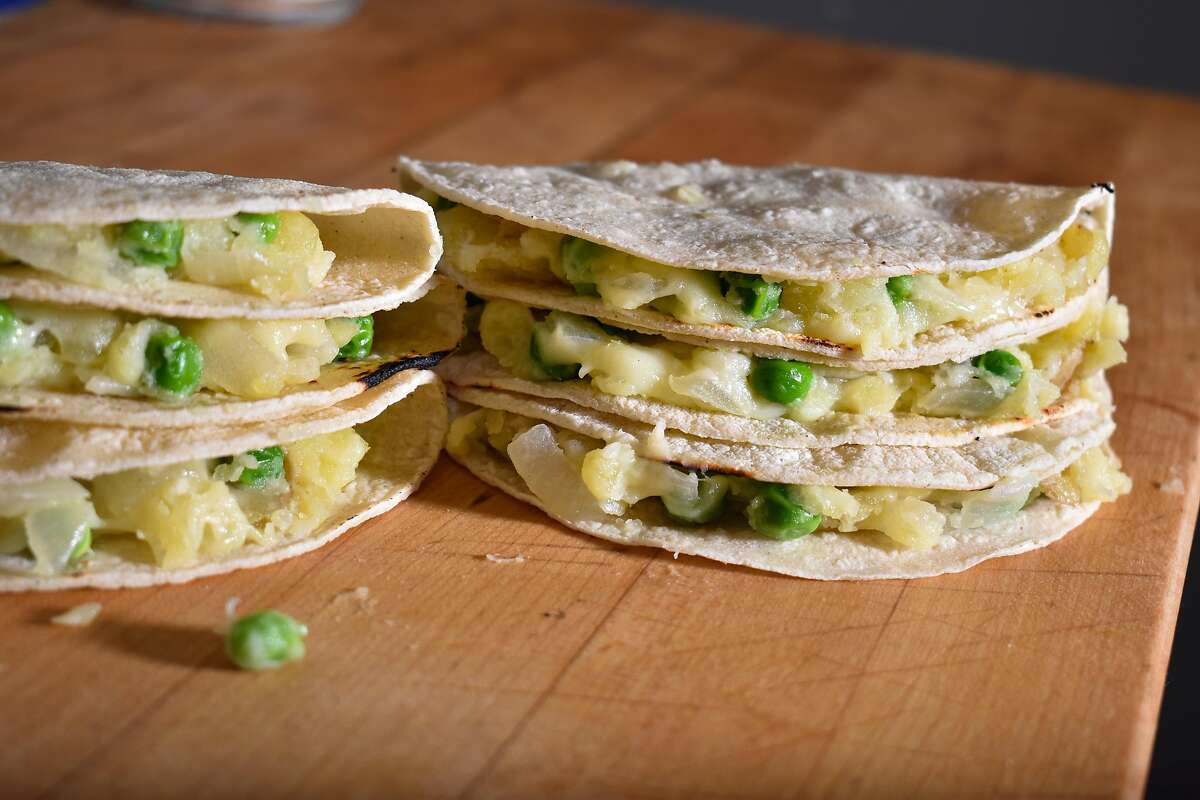 English peas and Gold Yukon potatoes pair perfectly in these tacos.