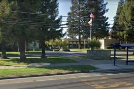 A sign in front of Elk Grove High.