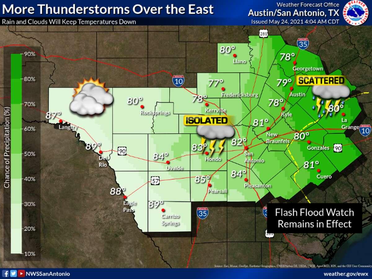 Rain will continue for San Antonio on Monday.