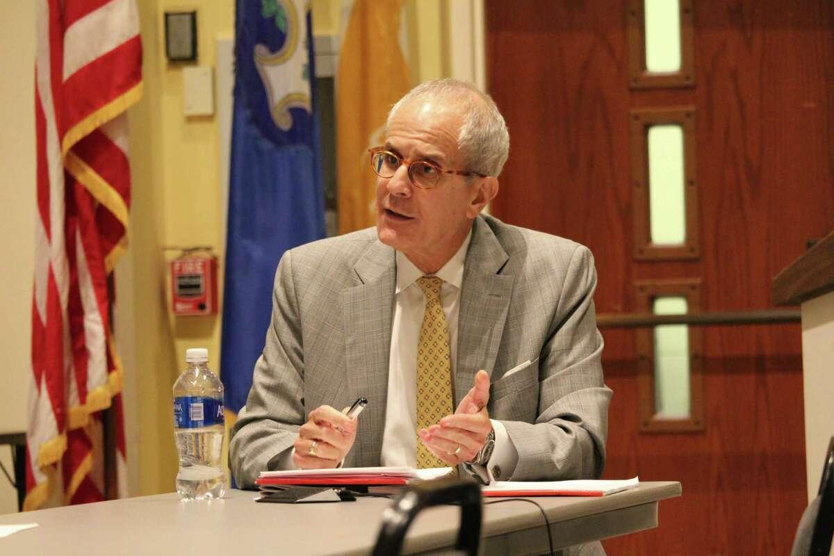 Town Attorney Ira Bloom speaking in Westport Town Hall, Sept. 2016.