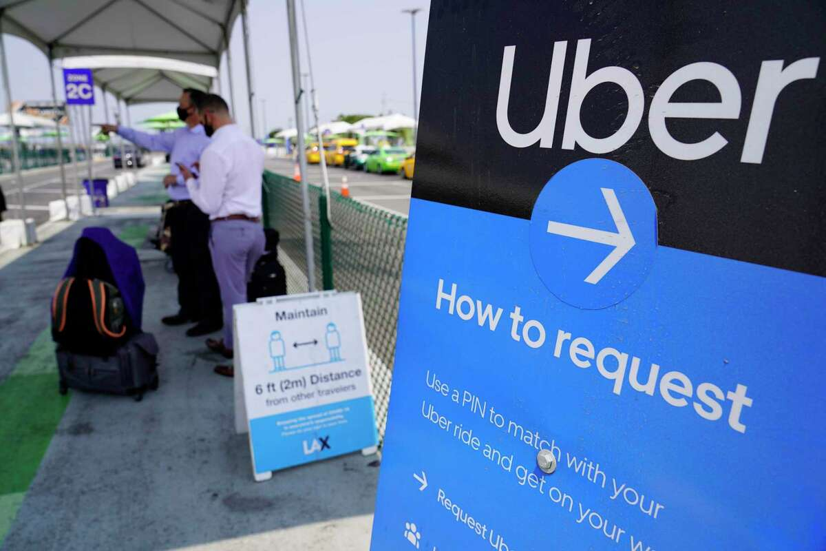 """Uber signage steers new arrivals at Los Angeles International Airport to Uber. In reinstating """"search for work"""" requirements for unemployment compensation entering June 2021, the Connecticut Department of Labor provided scant guidance initially on how self-employed """"gig economy"""" workers can demonstrate efforts that they are working to increase their base pay to continue qualifying for unemployment."""