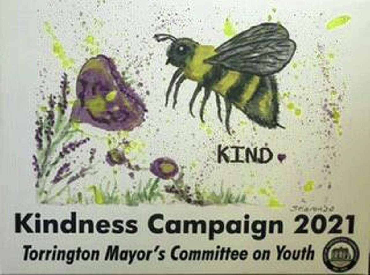 Members of the Mayor's Committee on Youth have launched a Kindness Campaign and plan to display this sign around town. The artwork was done by Sharon Cataldo.