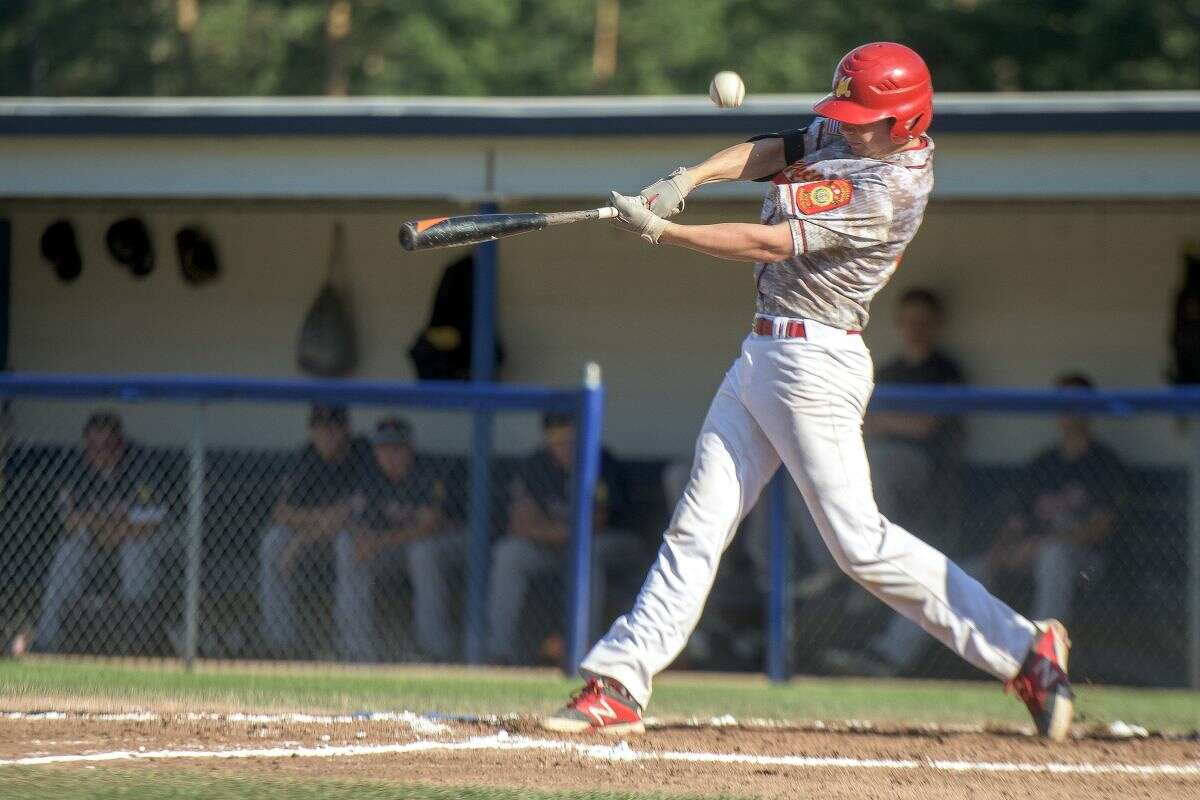 Cole Brooks takes a swing for Berryhill Post 165 during a July 24, 2015 American Legion Baseball district game.