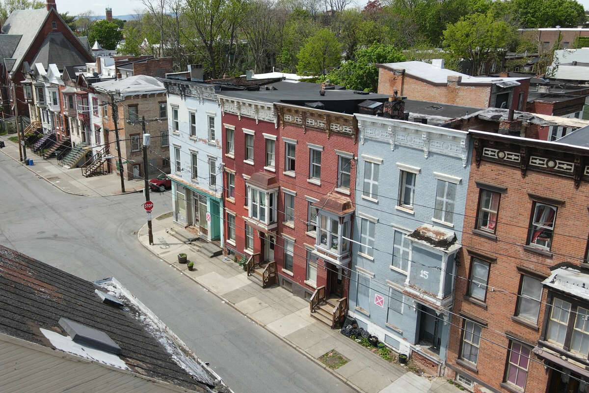 Stills from drone footage of the West Hill neighborhood, Lexington Avenue at First Street, May 2021. Two men were found shot at the intersection July 3, 2021. (Will Waldron/Times Union)