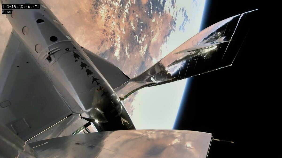 Virgin Galactic's VSS Unity spacecraft in space over New Mexico on May 22, 2020.