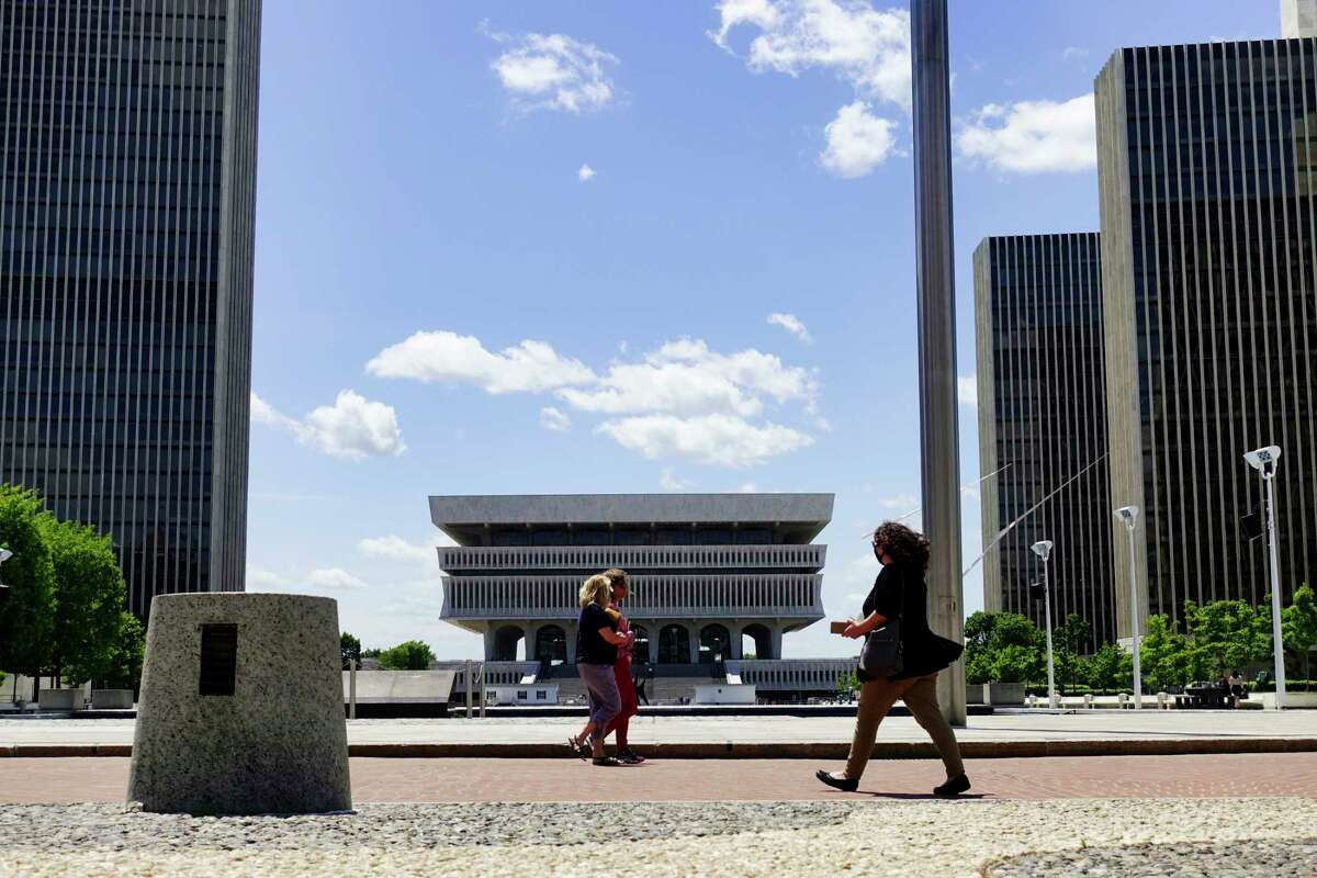 People get out to enjoy the sun at the Empire State Plaza on Monday, May 24, 2021, in Albany, N.Y. (Paul Buckowski/Times Union)