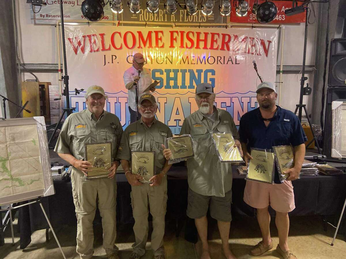 Winners of the open division in the J.P. Griffon fishing tournament was the Real Ready II team of (from left) Terry Eartherton, Cody Eatherton, Scott Becker and Allen Caudle.