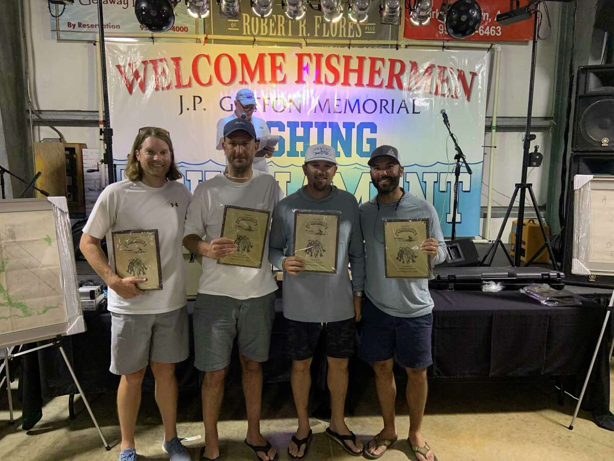 Winners of the hardware division in the J.P. Griffon fishing tournament was the team of Kwik Kar I (from left) Taylor Cragin, Brett Todd, Kyle Melgren and Jeremy Sonnier.