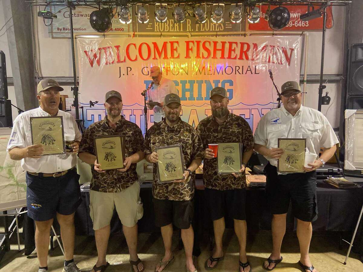 Winners of the guided division in the J.P. Griffon fishing tournament were (from left) guide Charlie Buchen, Troy Marinello, Logan Loviolette, Travis Williams and Clay Tiller.