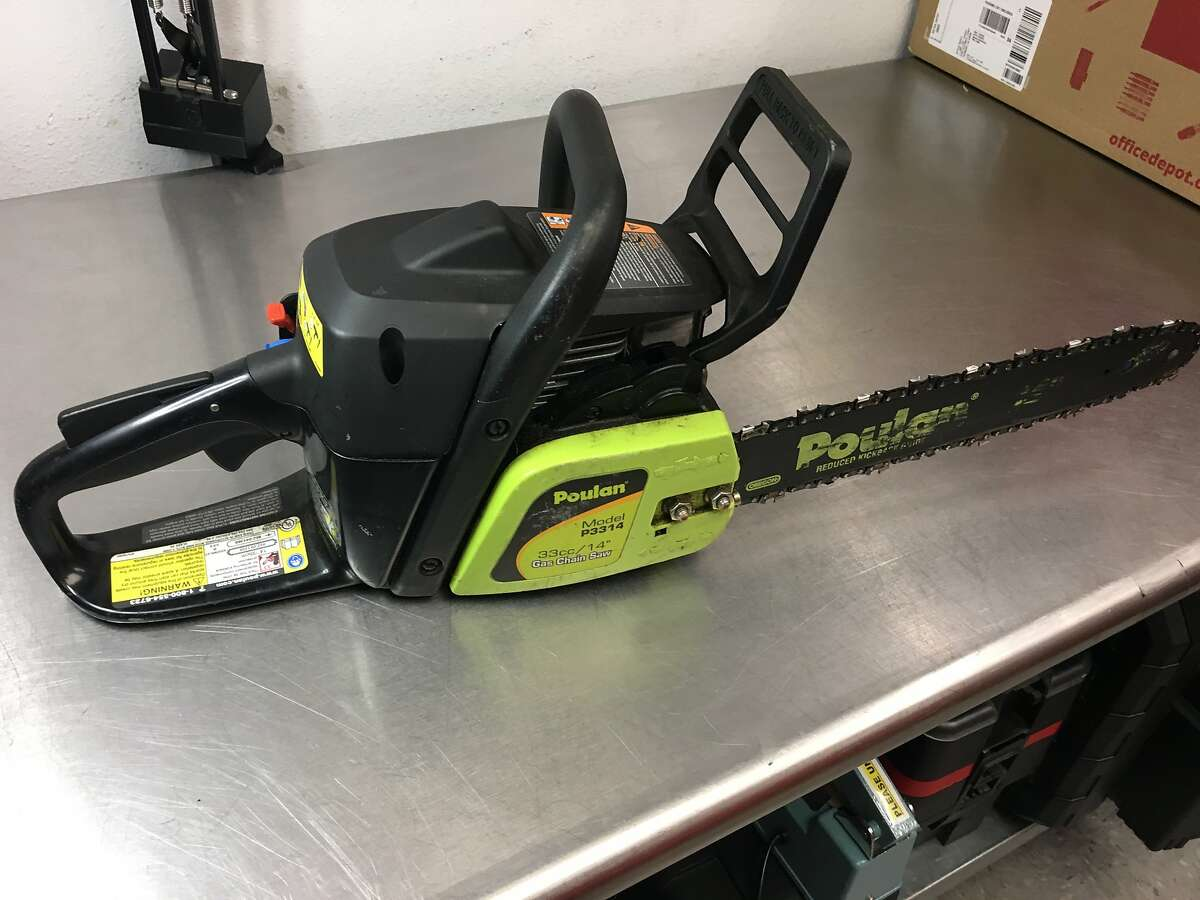 Petaluma police on Sunday arrested a man who they said vandalized city signs with a chainsaw and led officers on a foot chase on Highway 101.