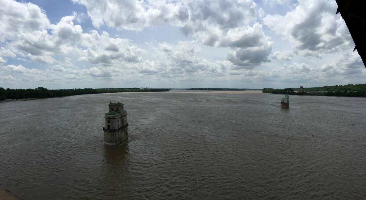 A view looking south from the Old Chain of Rocks Bridge. The stone structures in the river were once water stations.