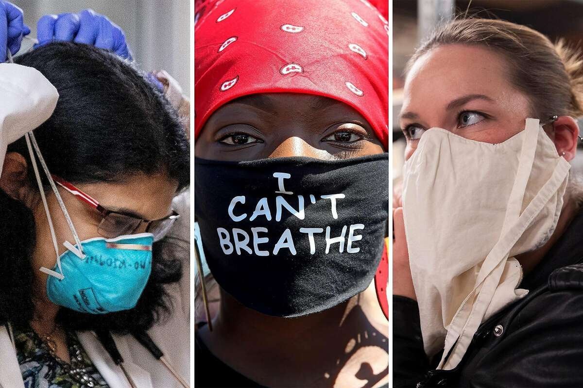 """Left: Dr. Deepa Rathi puts on a mask in the Intensive Care Unit at Good Samaritan Hospital in San Jose; Middle: Jacqueline Azah dons an """"I Cant' Breathe"""" mask while attending a Juneteenth protest against police brutality; Right: San Francisco Opera costume designer Galen Til models a mask made specifically for opera singers."""