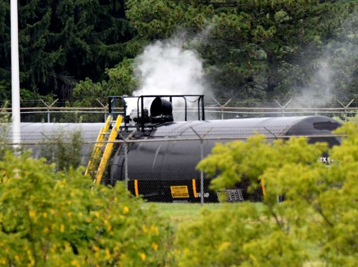Vapors rise from a rail tanker car containing styrene, a monomer used in the manufacturing of plastics, at the SABIC Innovative Chemicals facility on Creble Road on Tuesday evening, Sept. 1, 2020, in Bethlehem, N.Y. A leak in the tank was stopped after the pressure in the tank was stabilized Tuesday morning. (Will Waldron, Times Union)
