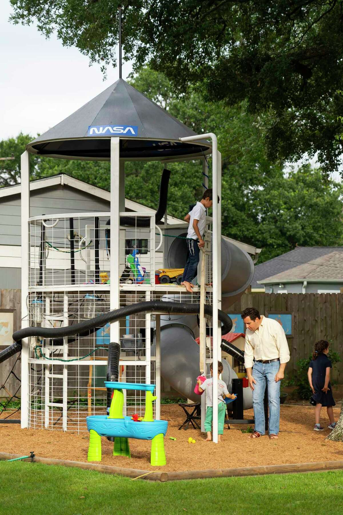 Danny Goldberg created playground equipment shaped to look like a rocket.