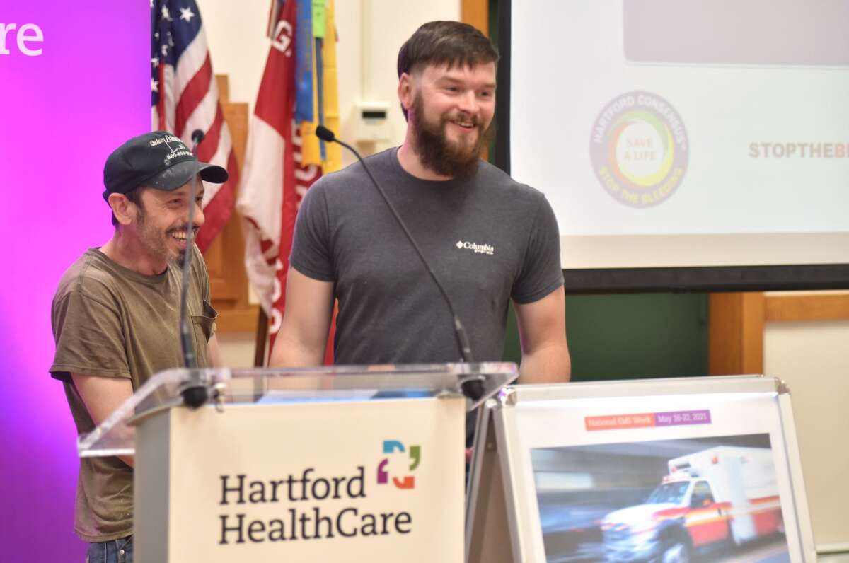 Sean Kelley and Adam Ritchotte, who shared their story about how Ritchotte survived a life-threatening wound while working at Salem Prime Cuts, are shown March 7.