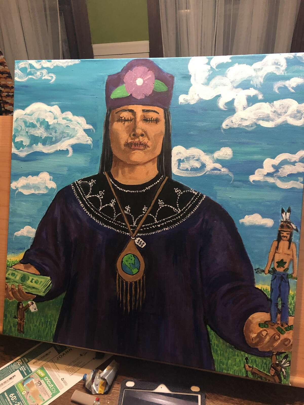 Chrisjohn's painting of a clanmother, depicting how traditions have been shut down because of money.