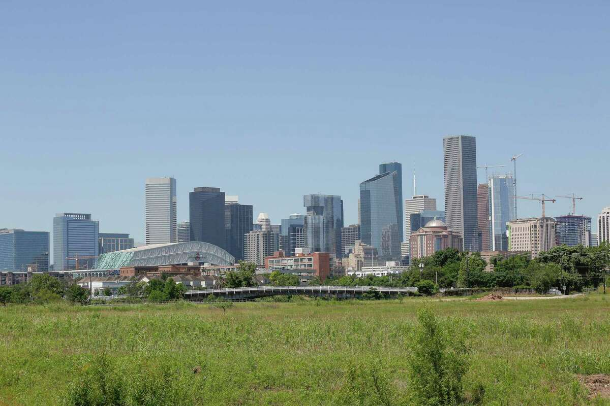 The view of downtown from the East River project Thursday, May 6, 2021, in Houston. The development team from Midway are developing the East River, a generational mixed-use project on 150 acres at the old KBR site along Buffalo Bayou just northeast of downtown. They're expected to break ground this summer.