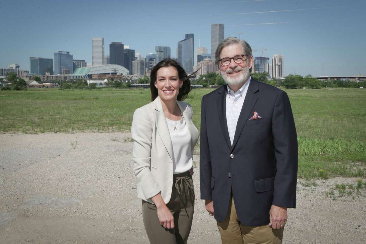 Midway development team Anna Deans and David Hightower Thursday, May 6, 2021, in Houston. The development team from Midway are developing the East River, a generational mixed-use project on 150 acres at the old KBR site along Buffalo Bayou just northeast of downtown. They're expected to break ground this summer.