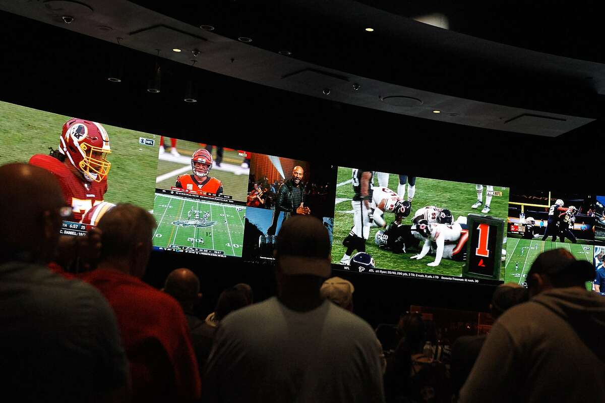 The sports book at Las Vegas' Caesars Palace in 2019.