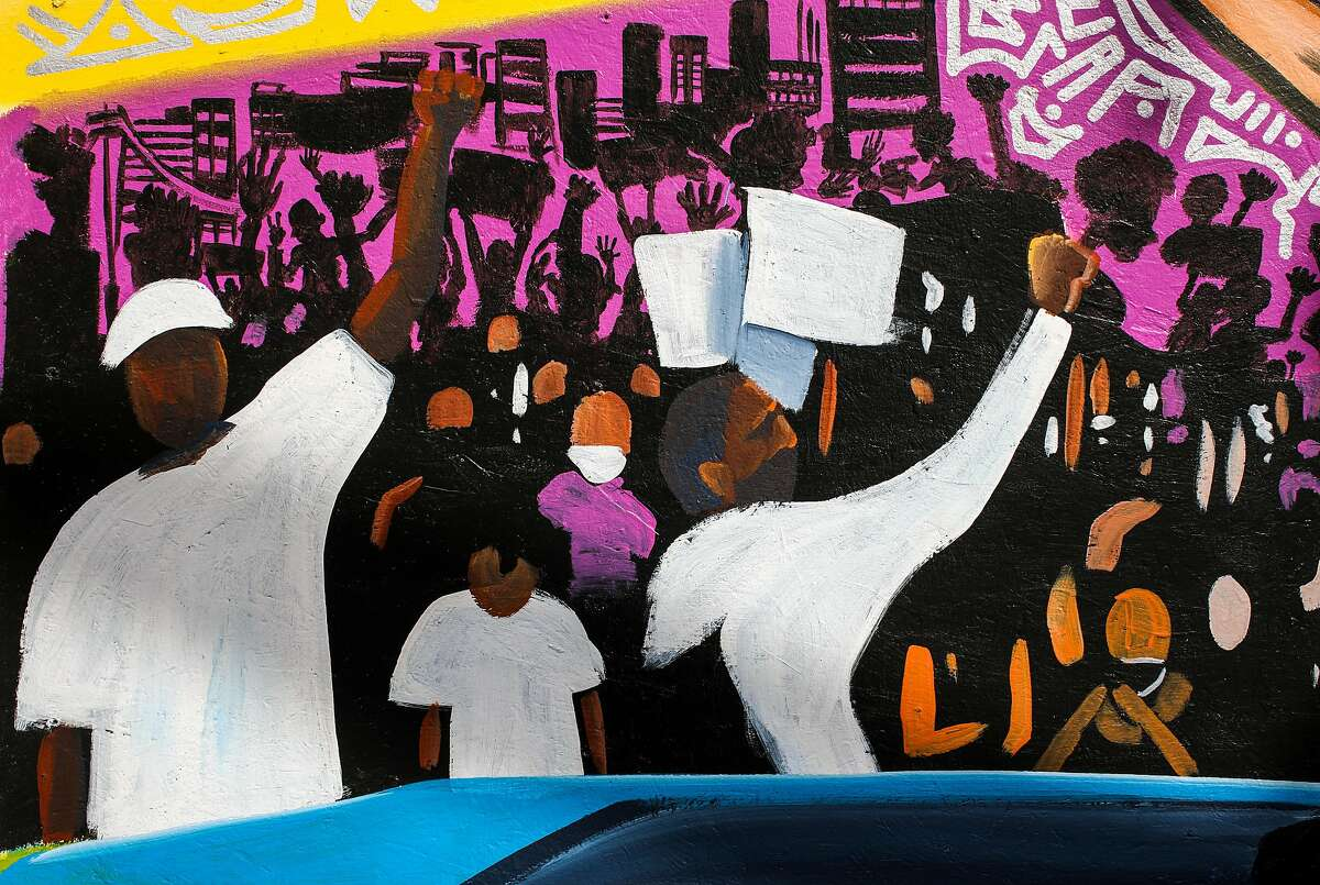 Murals painted in solidarity with Black Lives Matter were created in downtown Oakland following the death of George Floyd at police hands in Minneapolis.
