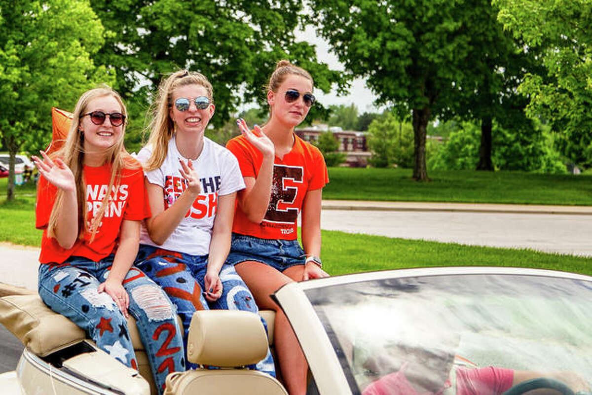 Edwardsville High School seniors recently took their last ride through the Southern Illinois University Edwardsville parking lot for the