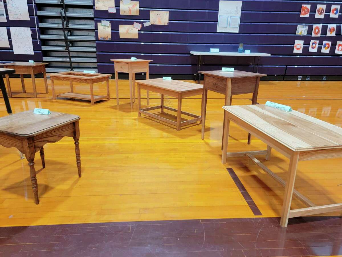 Shop class students had the furniture they made in class on display on May 19 during Extravaganza. (Colin Merry/Record Patriot)