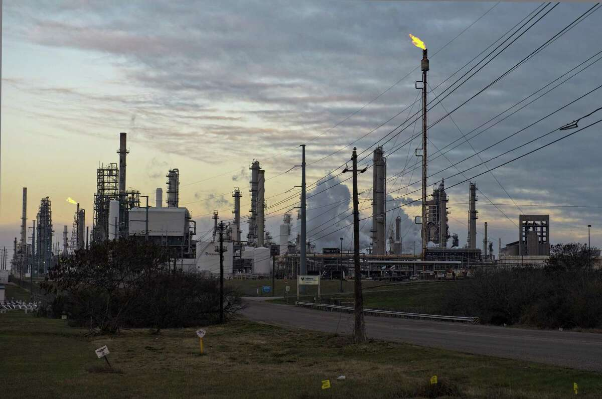 A Valero Energy Corp. refinery in Corpus Christi, Texas, U.S., Friday, Feb. 19, 2021. Federal officials estimated that the rising price of natural gas could make renewable energy Texas' main source of energy by the end of this year.Photographer: Eddie Seal/Bloomberg